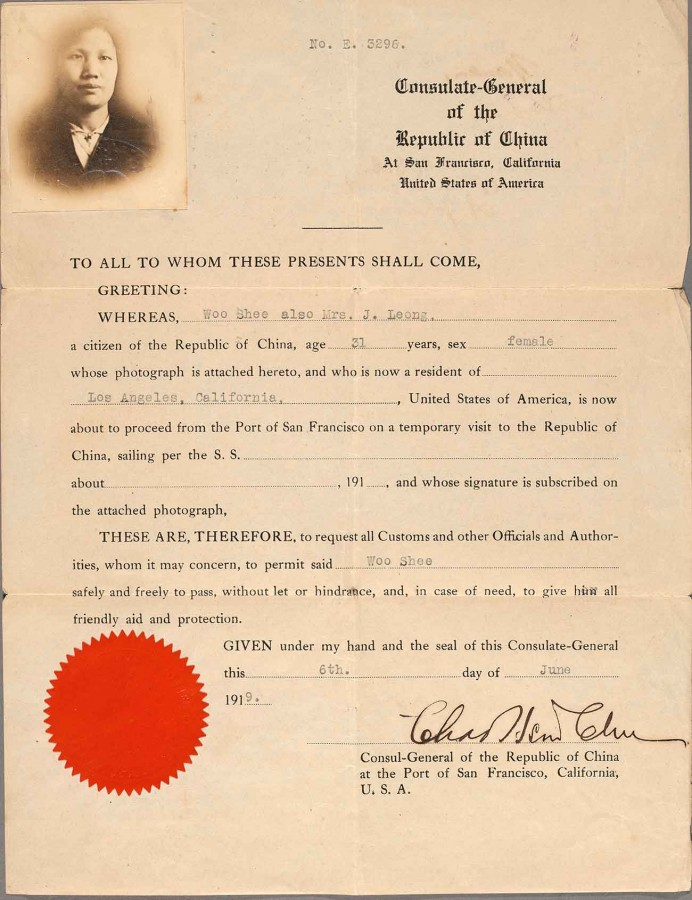 Passport document issued by the Consulate-General of the Republic of China to Woo Shee, aka Mrs. J. Leong, 1919. The Huntington Library, Art Museum, and Botanical Gardens.