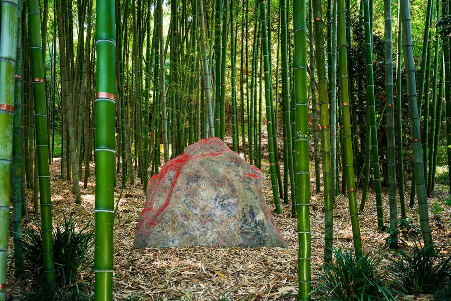 "Installation view of ""Red Earth"" by Lita Albuquerque. The Huntington Library, Art Museum, and Botanical Gardens. Photo by Karl Puchlik, courtesy of the artist."