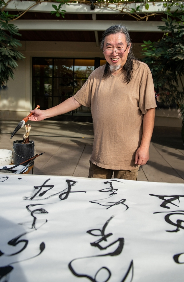 Tang Qingnian, the 2019 Cheng Family Foundation Artist-in-Residence at The Huntington. Photo by Jamie Pham. The Huntington Library, Art Collections, and Botanical Gardens