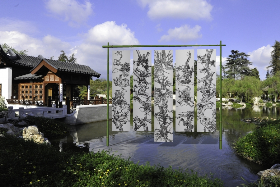 "Digital mockup of the installation ""Tang Qingnian: An Offering to Roots."" The Huntington Library, Art Collections, and Botanical Gardens"