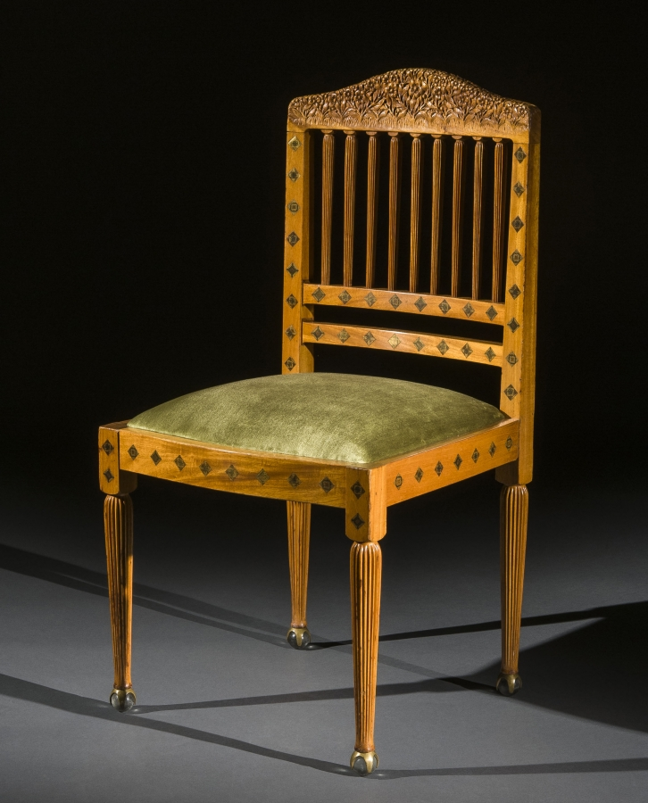 Louis Comfort Tiffany (1848-1933), Side Chair, ca. 1891–93. Primavera and American ash, varicolored wood and metal micro-mosaic marquetry, glass balls in brass claw feet, 35 1/4 x 18 1/4 x 18 1/2 in. The Huntington Library, Art Collections, and Botanical Gardens.