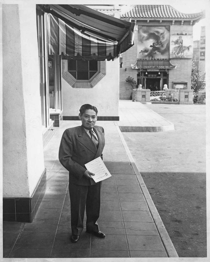 Y. C. Hong outside his immigration law office in the Central Plaza, 1940s. The Huntington Library, Art Museum, and Botanical Gardens.