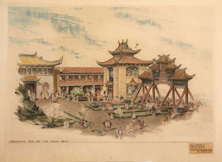 Erle Webster (1898-1971) and Adrian Wilson (1898-1988), architects, Building rendering for Mr. You Chung Hong, ca. 1936. The Huntington Library, Art Museum, and Botanical Gardens.