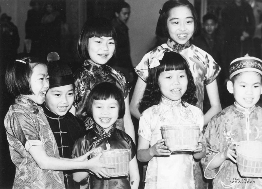 Children singing in traditional dress, ca. 1940. Los Angeles Public Library, Harry Quillen Photo Collection.