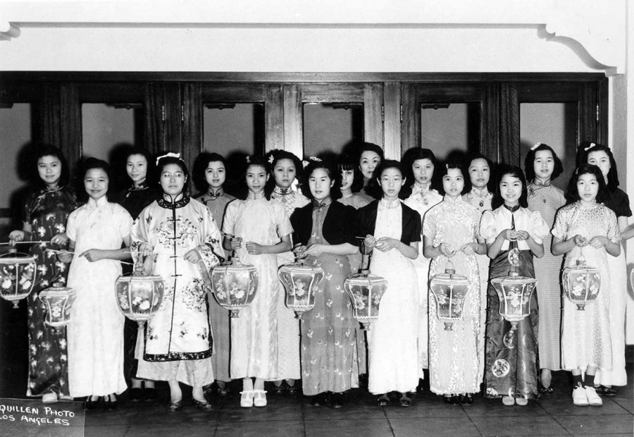 Young women in traditional Chinese dress with lanterns at Moon Festival celebration, 1940. Los Angeles Public Library, Harry Quillen Photo Collection.