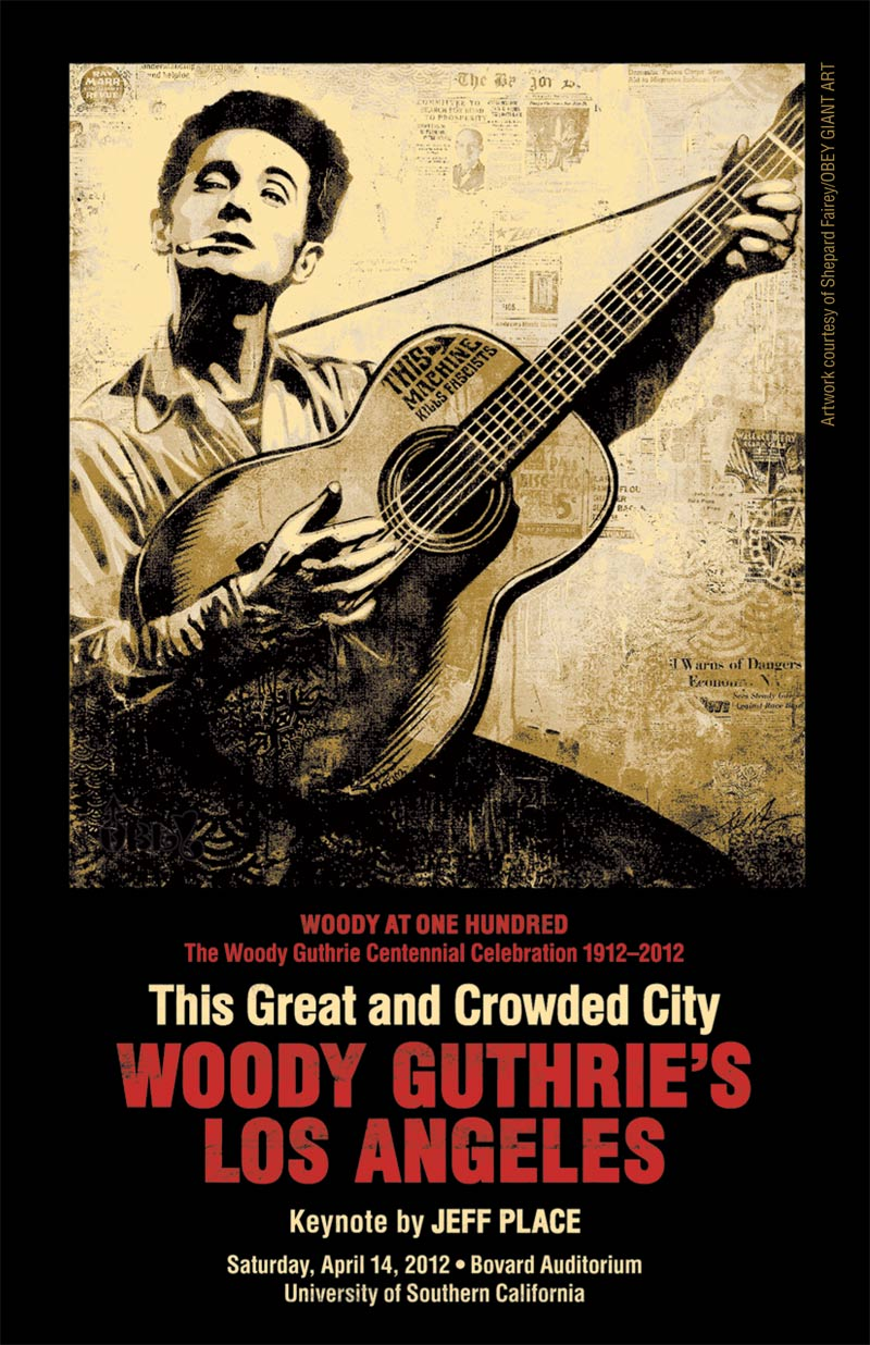 "Cover of ""This Great and Crowded City: Woody Guthrie's Los Angeles"" conference program."