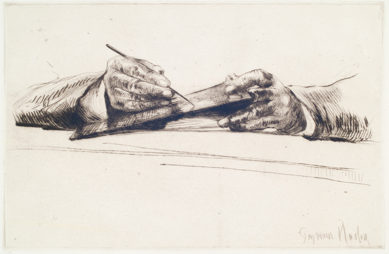 Francis Seymour Haden (1818–1910), Hands Dry Pointing, 1877. Gift of Russel I. Kully. The Huntington Library, Art Collections, and Botanical Gardens.