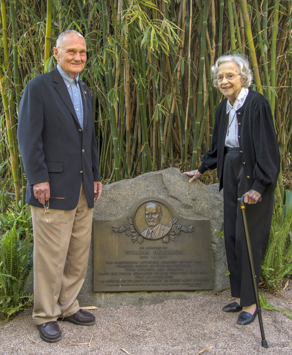 Midge Sherwood (at right), the founding president of the San Marino Historical Society, was responsible for the creation of the original memorial plaque. She stands alongside the new plaque with Oskar Thurnher, the son of Hertrich's good friend Armin Thurnher. Photo by Martha Benedict.