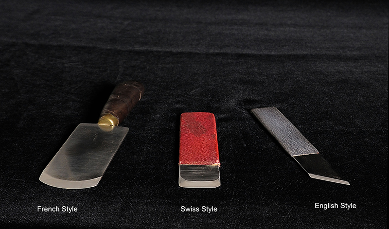 The three main types of knives used in bookbinding and conservation.