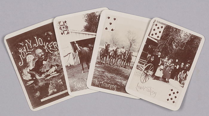 "Among items at The Huntington related to local racing lore are these playing cards showing scenes at Rancho Santa Anita and its owner, ""Lucky"" Baldwin (San Francisco: Alverson Comstock, ca. 1895)."