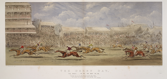 This illustration of the Derby at Epsom, England, is by Hablot Browne, better known as Phiz, the illustrator of books by Charles Dickens. From Hablot Browne, The Derby Day (London: Messrs. Fores, 1866).