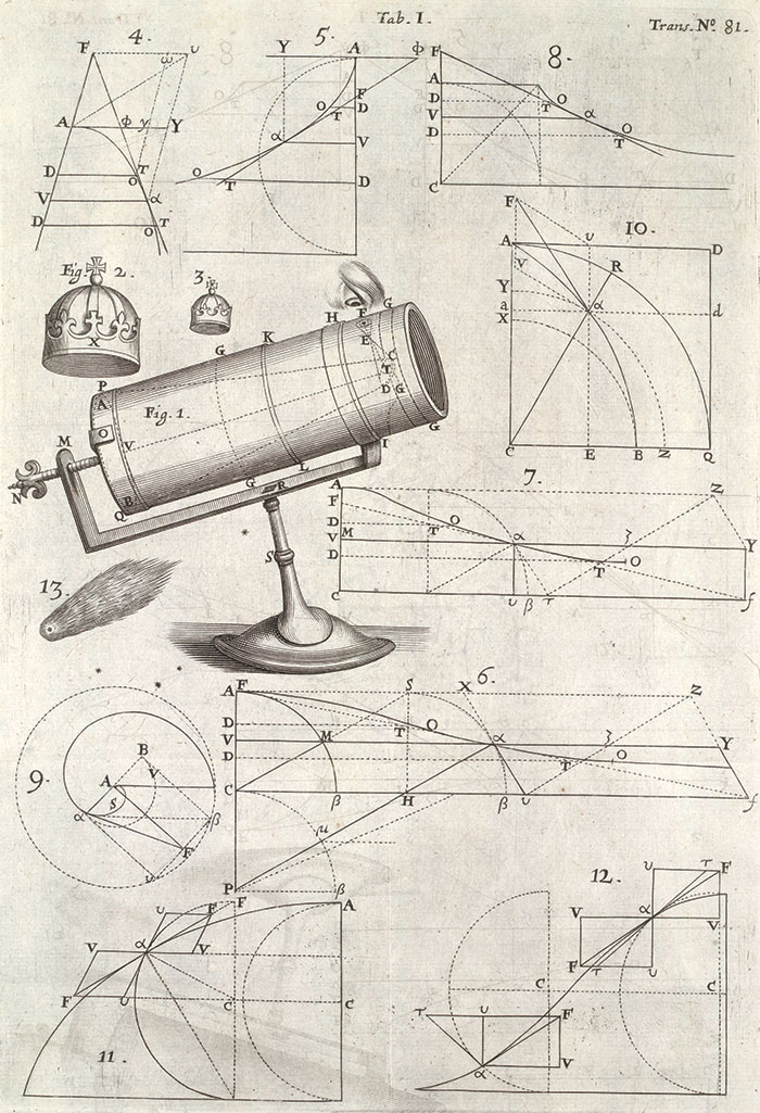 Illustration of Isaac Newton's reflecting telescope in An Account of a New Kind of Telescope, invented by Mr. Isaac Newton, Philosophical Transactions of the Royal Society, London, 1672. The Huntington Library, Art Collections, and Botanical Gardens.