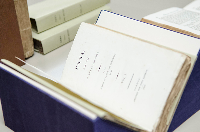 A first edition of the first volume of Jane Austen's novel Emma, 1816, with board covers, untrimmed. The Huntington Library, Art Collections, and Botanical Gardens. Photo by Lance Hayashida/Caltech.