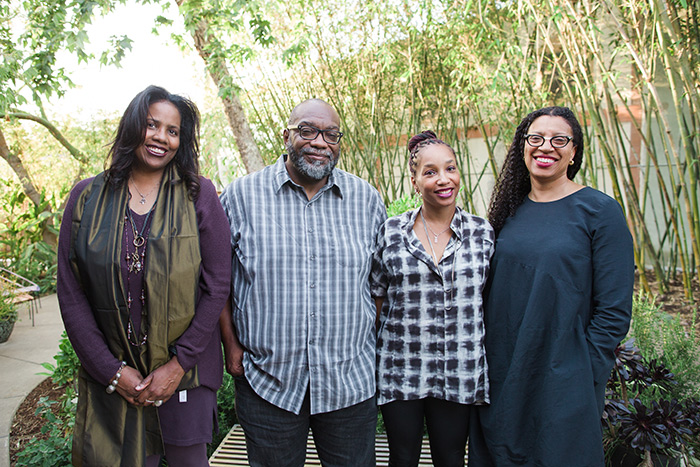 (Left to right): Writers Lynell George, Fred Moten, Tisa Bryant, and Robin Coste Lewis crafted new works based on The Huntington's Octavia E. Butler archive. Photo by Gina Clyne, courtesy of Clockshop.