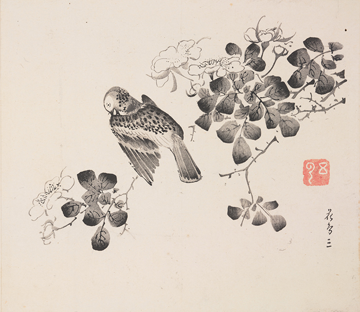 Bird on flowering rose branch by unidentified artist, Ten Bamboo Studio Manual of Calligraphy and Painting 十竹齋書畫譜, Ming dynasty, Chongzhen period to early Qing dynasty, ca. 1633–1703, compiled and edited by Hu Zhengyan 胡正言 (1584/5–1673/4). The Huntington Library, Art Collections, and Botanical Gardens.