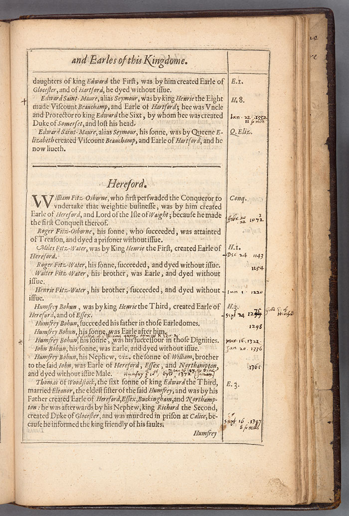 Annotations in William Martyn's Historie, and Lives, of the Kings of England. The Huntington Library, Art Collections, and Botanical Gardens.