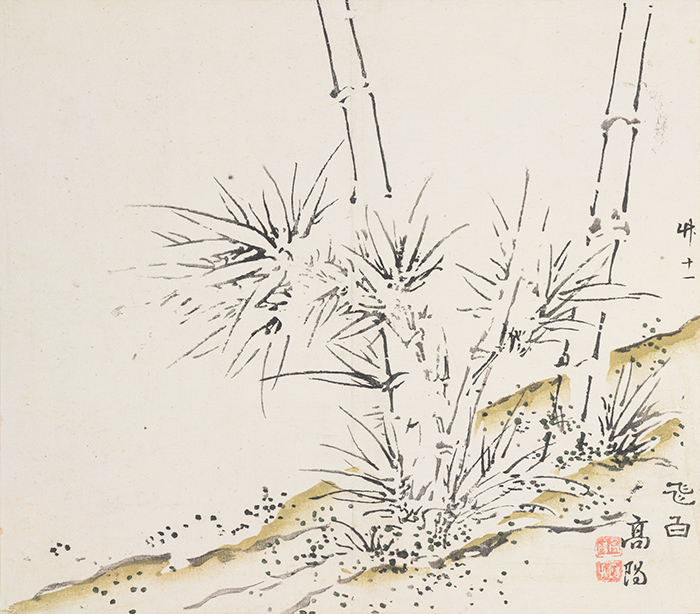 "Artist Gao Yang created this striking image of bamboo, ""Flying White."" Bamboo 11, Ten Bamboo Studio Manual of Calligraphy and Painting, ca. 1633–1703, woodblock-printed book mounted as album leaves, ink and colors on paper. The Huntington Library, Art Collections, and Botanical Gardens."