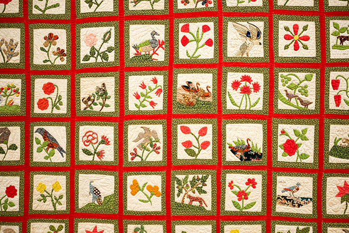 Maker unknown, Album Quilt (detail), ca. 1850, cotton. Jonathan and Karin Fielding Collection. Photo by Kate Lain.