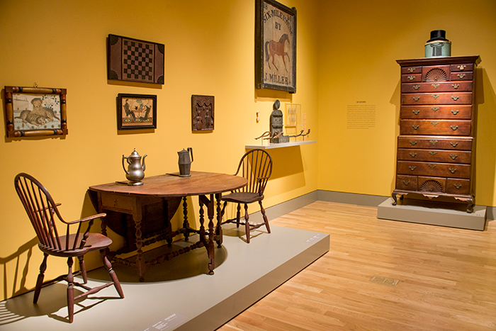 This gallery is arranged to suggest the interior of an American home in the mid-19th century. Jonathan and Karin Fielding Collection. Photo by Kate Lain.