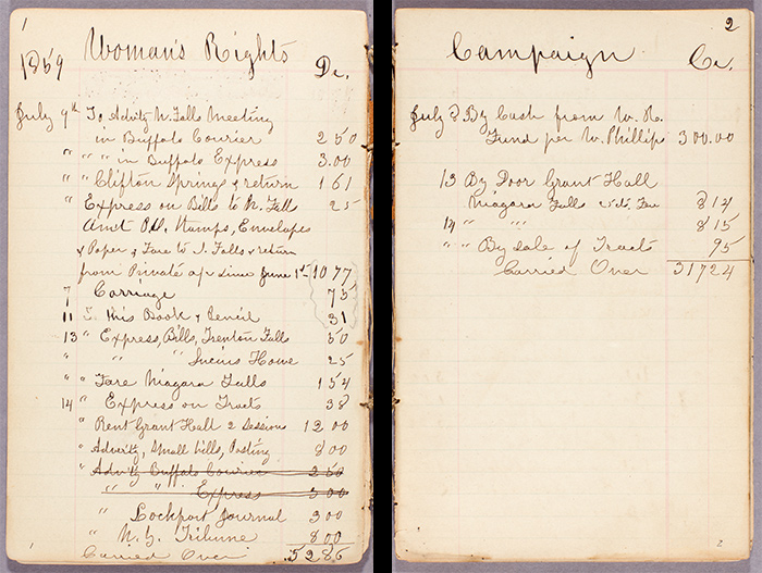 Two pages from Susan B. Anthony account book, April 17, 1858–July 27, 1860. In the spring of 1859, Anthony was engaged in preparation for the 9th Woman's Rights Convention in New York City. The convention opened on May 12, 1859, at the Mozart Hall. The Huntington Library, Art Collections, and Botanical Gardens.