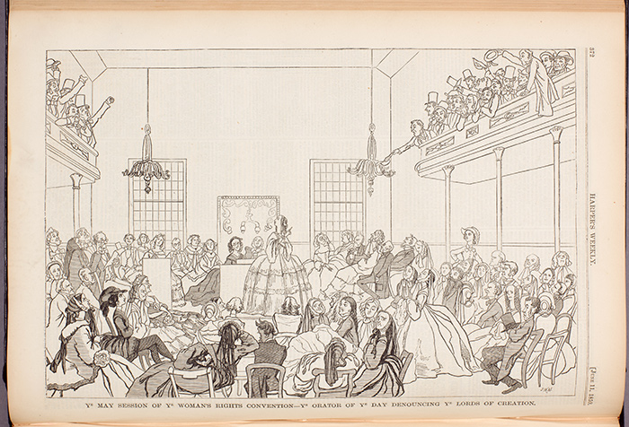 """Ye May Session of Ye Woman's Rights Convention—Ye Orator of Ye Day Denouncing Ye Lords of Creation,"" Harper's Weekly, June 11, 1859. The Huntington Library, Art Collections, and Botanical Gardens."