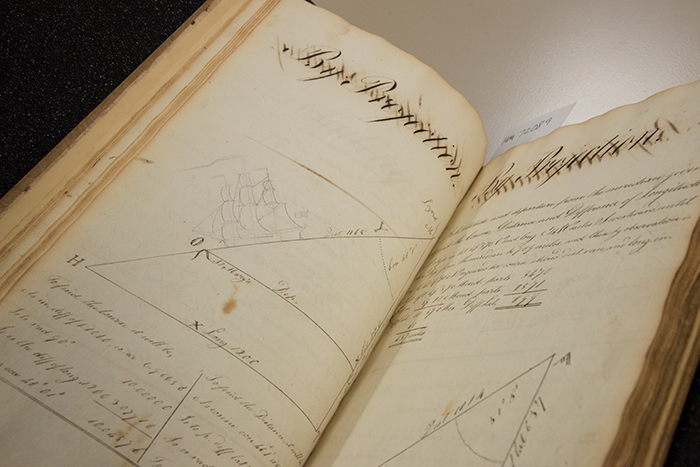 Mathematics manuscript (1820–1832) by Daniel Hallett, in which geometry and trigonometry are used to calculate and solve problems related to sailing directions. The Huntington Library, Art Collections, and Botanical Gardens. Photo by Kate Lain.