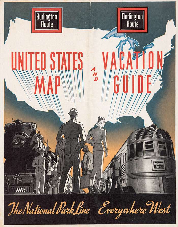Burlington Route, United States Map and Vacation Guide, cover, 1938. The Huntington Library, Art Collections, and Botanical Gardens.