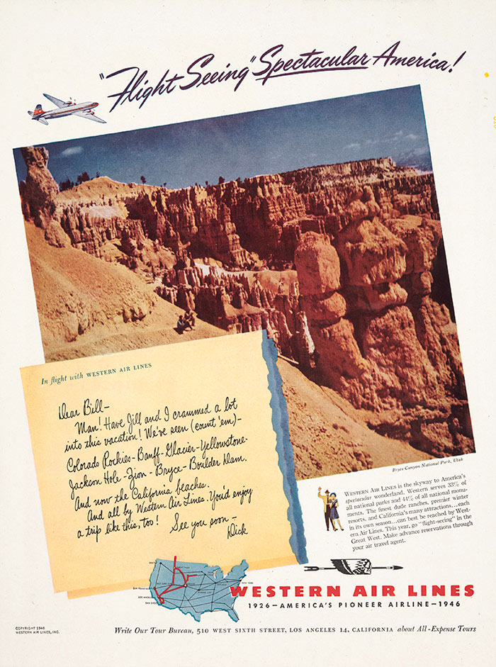 "Western Air Lines, ""'Flight Seeing' Spectacular America,"" advertisement, 1946. The Huntington Library, Art Collections, and Botanical Gardens."