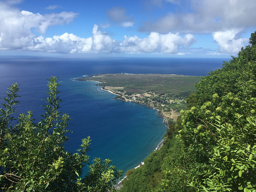 Looking down on the Kalaupapa peninsula from Molokai pali, August 2016. Photo by Jenny Watts.