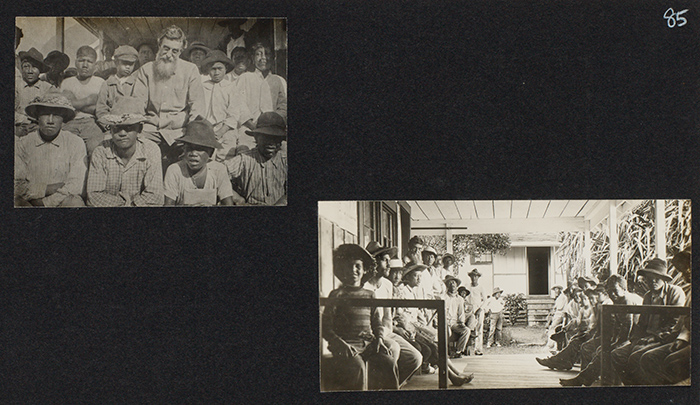 Two images of Joseph Dutton on Molokai, ca. 1905. In the image on the left, Dutton sits with a group of Hawaiian men and boys. In the image on the right, Dutton is seen with a group of men on a porch of what may be the Baldwin Home for men and boys that Dutton founded on Molokai.