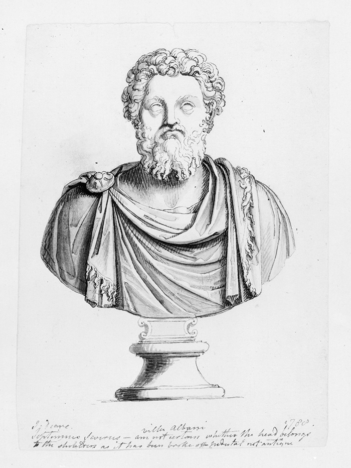 John Deare (British, 1759–1798), Album leaf: Bust of Septimius Severus, Roman Emperor, ca. 1788, pen and black ink and wash on paper, rendered here in black and white. The Huntington Library, Art Collections, and Botanical Gardens.