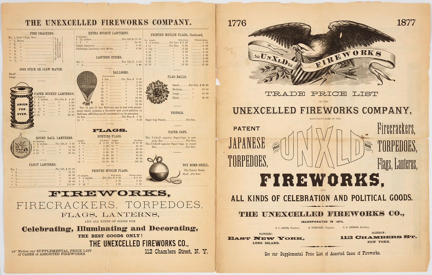 Price list for fireworks in 1877