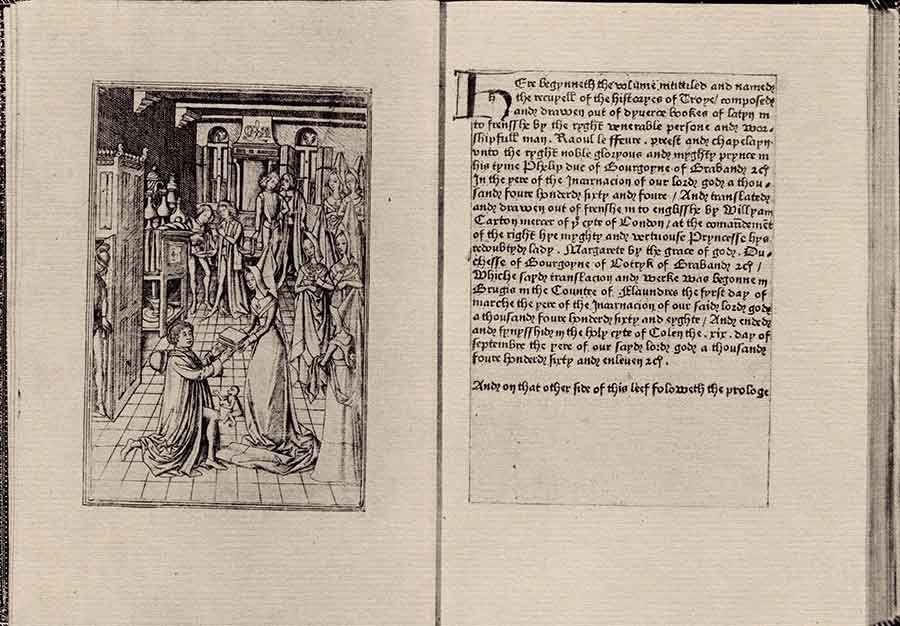 "The first printed book in the ""englysshe tonge"" was Recuyell of the Historyes of Troye (""A Collection of the Histories of Troy""), published by William Caxton around 1475. The Huntington's unique edition was one of the highlights of an exhibition on early English printing that was promoted in the newsletter in 1970. The Huntington Library, Art Museum, and Botanical Gardens."