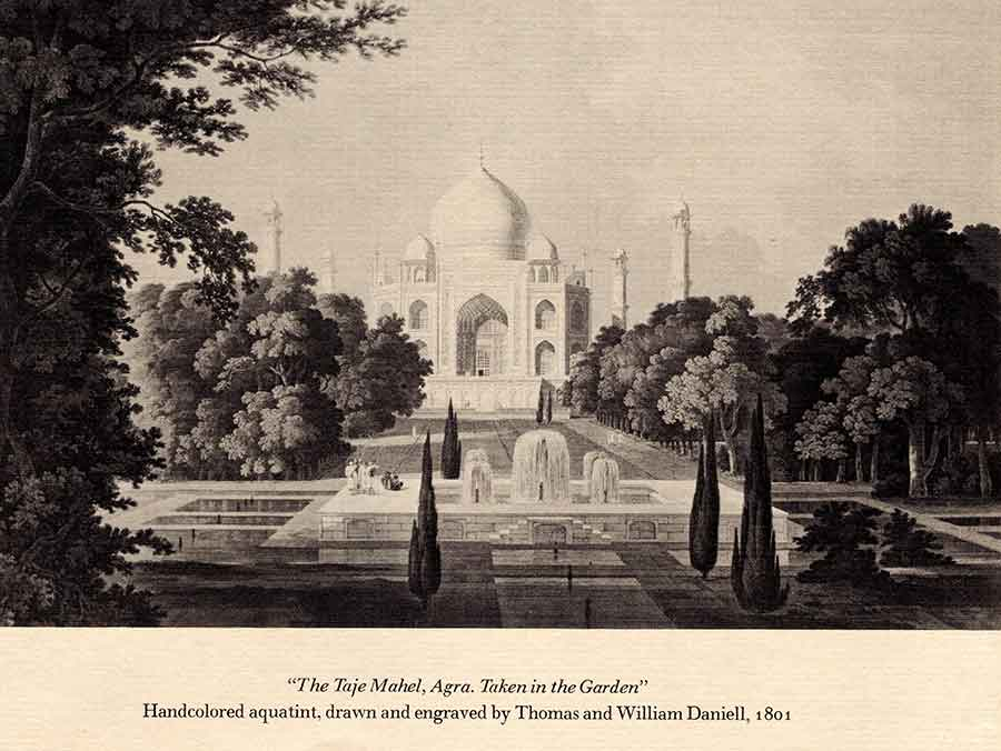 "A handcolored aquatint of the Taj Mahal at Agra, India, by Thomas and William Daniell, 1801. Displayed in the exhibition ""Handcolored Aquatints by William Daniell"" in February 1970. The Huntington Library, Art Museum, and Botanical Gardens."