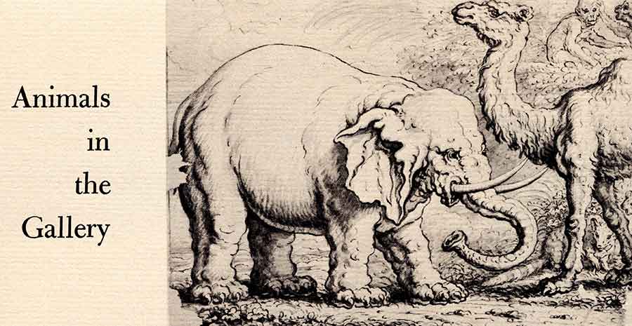 "Elephant, Camel, and Monkeys (ca. 1663) by Francis Barlow. Pen and brown ink and brush and black ink and wash on laid paper. Seen in the June–July 1970 exhibition ""Animals in the Gallery."" The Huntington Library, Art Museum, and Botanical Gardens."