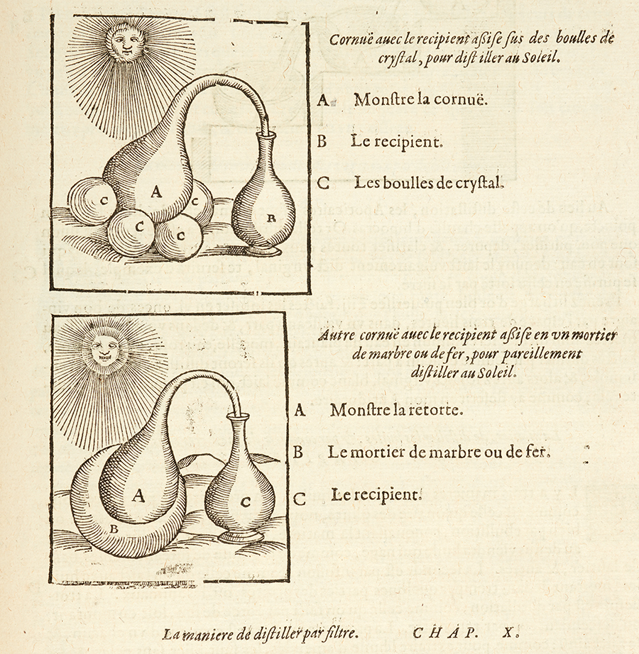 Detail of a page on distillation from 1614