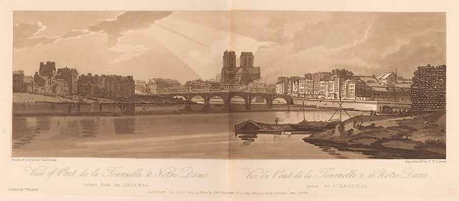 "Thomas Girtin, ""View of Pont de la Tournelle and Notre Dame,"" etching and aquatint, plate 11 from A selection of twenty of the most picturesque views in Paris, and its environs drawn and etched in the year 1802 . . . and aquatinted in exact imitation of the original drawings (London: M.A. & J. Girtin, 1803). The Huntington Library, Art Collections, and Botanical Gardens."