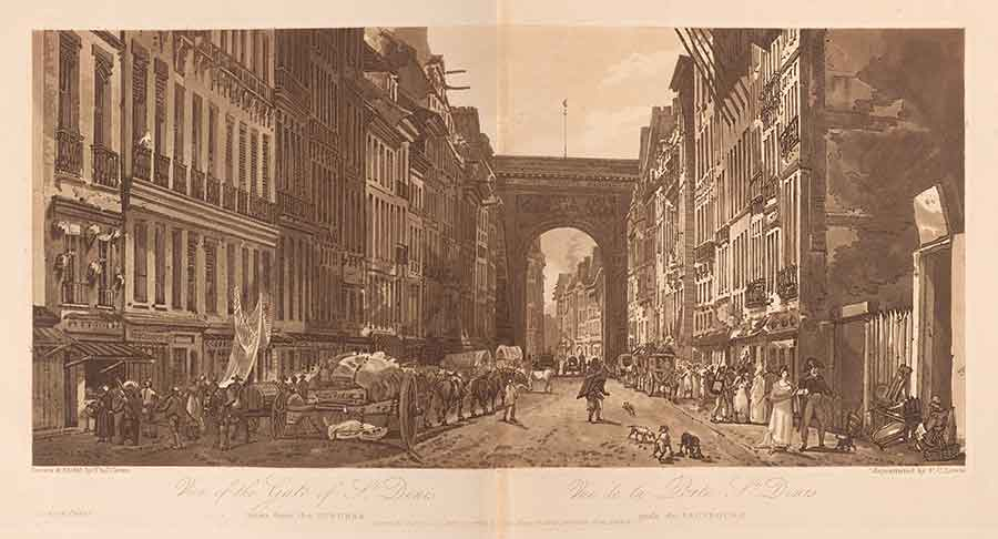 "Thomas Girtin, ""View of the Gate of St. Denis,"" etching and aquatint, plate 10 from A selection of twenty of the most picturesque views in Paris, and its environs drawn and etched in the year 1802 . . . and aquatinted in exact imitation of the original drawings (London: M.A. & J. Girtin, 1803). The Huntington Library, Art Collections, and Botanical Gardens."