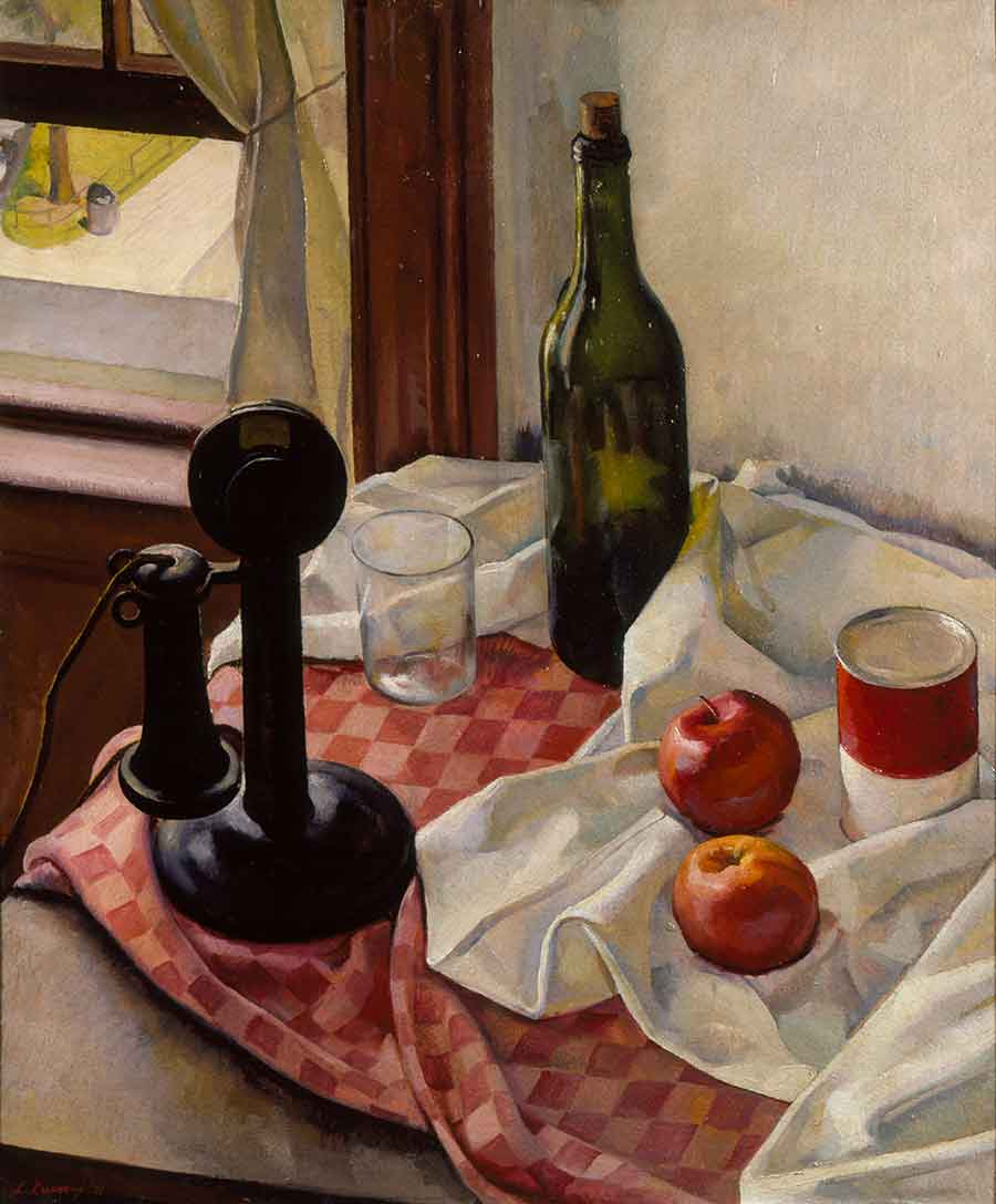 Luigi Lucioni, Still Life with Telephone, 1926, oil on board, 24 x 20 in. (61 x 50.8 cm.). Purchased with funds from the Art Collectors' Council and the Virginia Steele Scott Foundation. The Huntington Library, Art Museum, and Botanical Gardens.