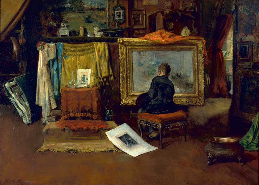 William Merritt Chase, The Inner Studio, Tenth Street, 1882, oil on canvas, 32 3/8 x 44 1/4 in. (82.2 x 112.4 cm.). Gift of the Virginia Steele Scott Foundation. The Huntington Library, Art Museum, and Botanical Gardens.
