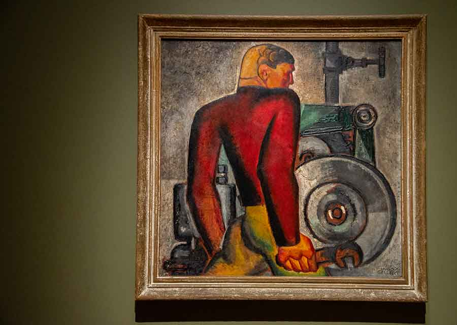 Hugo Gellert (1892–1985), Worker and Machine, 1928, oil on board, 30 1/2 x 30 7/8 inches. Collection of Sandra and Bram Dijkstra. Photo by Deborah Miller.