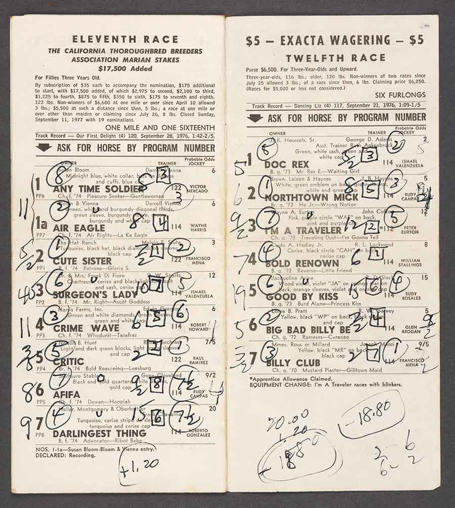 Racing form for Los Angeles County Fair in Pomona, California, September 19, 1977, annotated by Charles Bukowski. The Huntington Library, Art Museum, and Botanical Gardens.