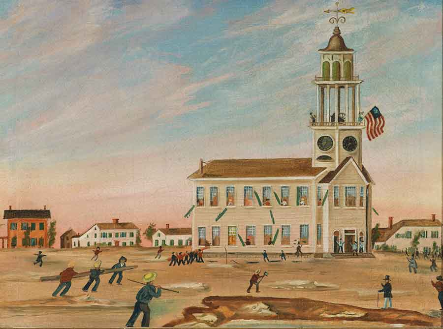 Before the Burning of the Old South Church in Bath, Maine by John Hilling, ca. 1854, oil on canvas, 21 3/4 x 27 7/8 x 2 1/8 in. (55.2 x 70.8 x 5.4 cm.). Jonathan and Karin Fielding Collection. The Huntington Library, Art Museum, and Botanical Gardens.