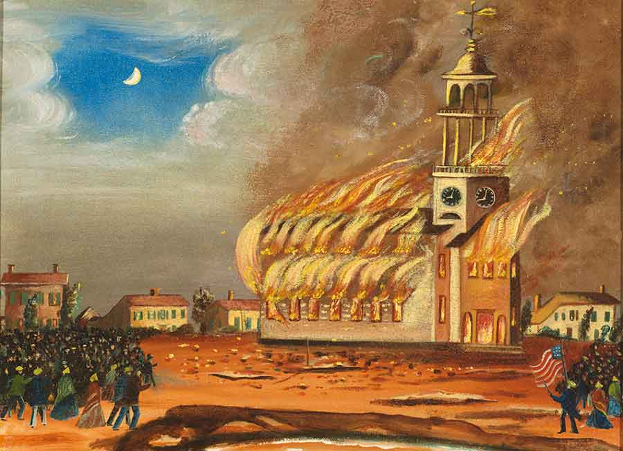 The Burning of the Old South Church in Bath, Maine by John Hilling, ca. 1854, oil on canvas, 21 1/2 x 27 3/8 x 2 1/8 in. (54.6 x 69.5 x 5.4 cm.). Jonathan and Karin Fielding Collection. The Huntington Library, Art Museum, and Botanical Gardens.