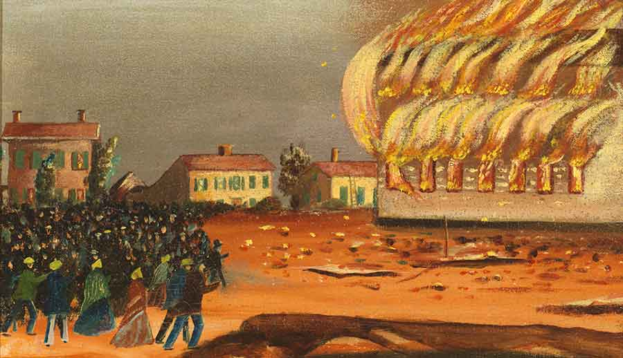 """[T]he shouting and yelling of the multitude, above fifteen hundred in number, could be distinctly heard at a distance of a mile,"" the New York Daily Times reported on July 11, 1854. Detail from The Burning of the Old South Church in Bath, Maine by John Hilling, ca. 1854, oil on canvas, 21 1/2 x 27 3/8 x 2 1/8 in. (54.6 x 69.5 x 5.4 cm.). Jonathan and Karin Fielding Collection. The Huntington Library, Art Museum, and Botanical Gardens."