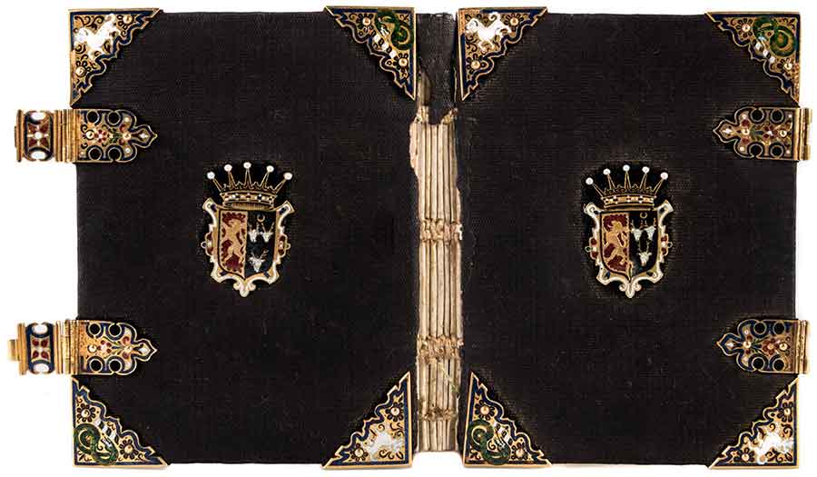 Scribal copy of the Catholic Manual of prayers (n.p., 1583), bound in black velvet and solid gold binding furniture, with champlevé enamel depicting the arms of the Catholic Gilbert and Mary Talbot, 7th Earl and Countess of Shrewsbury. Purchased by the Library Collectors' Council. The Huntington Library, Art Museum, and Botanical Gardens.