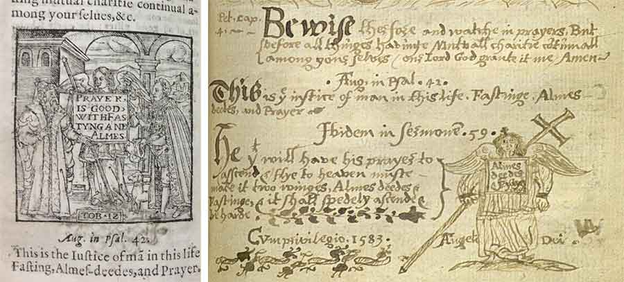 Left: A manual of prayers newly gathered out of many and diuerse famous authors (n.p., 1583), one of three extant copies, Gonville & Caius College Library, Cambridge University. Right: Elizabethan Catholic scribal adaptation of the same text and image, Oscott College Library.