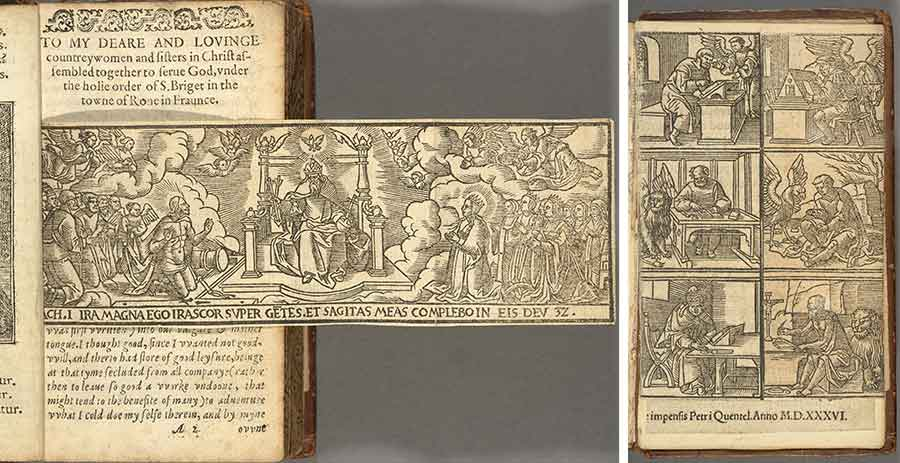 Left and right: Diego de Estella, The contempte of the world, and the vanitie thereof (Rouen, 1584), one of 13 known copies, this one uniquely extra-illustrated with woodcut engravings cut from an imprint issued from the Cologne press of Peter Quentell decades earlier in 1536. The Huntington Library, Art Museum, and Botanical Gardens.