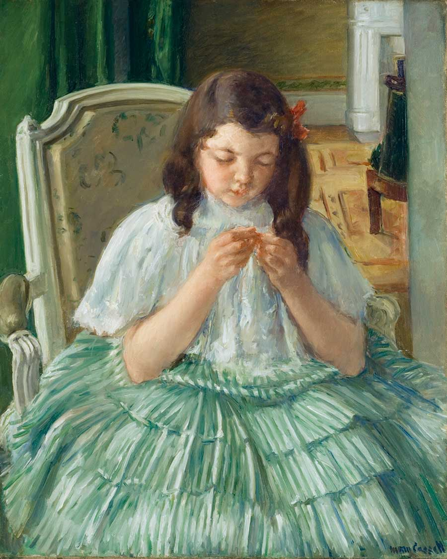 Mary Cassatt, Françoise in Green, Sewing, 1908–09, oil on canvas, 32 in. x 25 3/4 in. Gift of the Ida Belle Young Art Acquisition Fund. Montgomery Museum of Fine Arts, Montgomery Alabama, 2009.6.