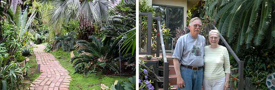 Left: Cycads lining a brick walk in Loran Whitelock's home garden in 2014, shortly before The Huntington acquired his cycad collection. Photo by Kate Lain. Right: Loran Whitelock and his wife, Eva, in front of their home. Photo by Jim Folsom.